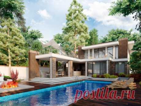 Проект дома с бассейном и террасой