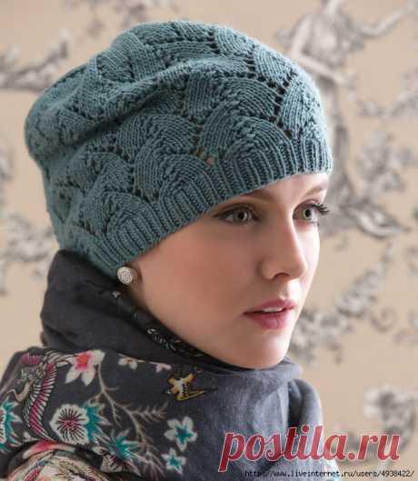 Женская шапочка спицами. Tulip Lace Hat by Julie Gaddy.