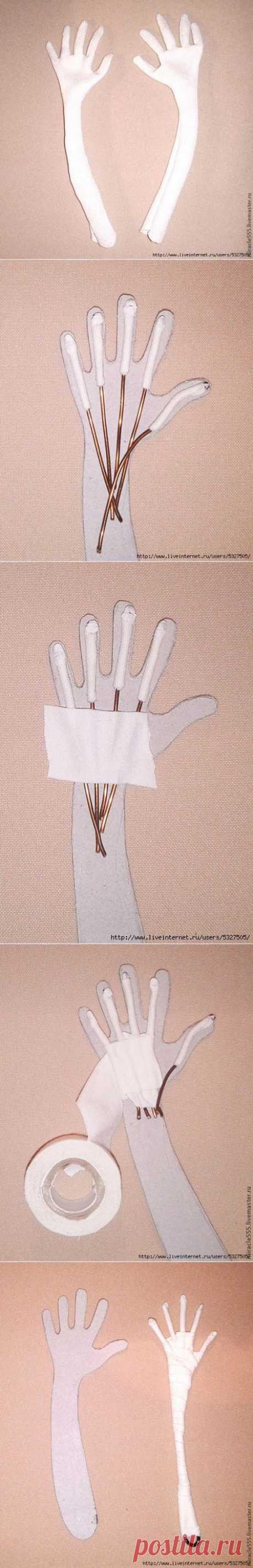 Изготовление рук на проволочном каркасе..