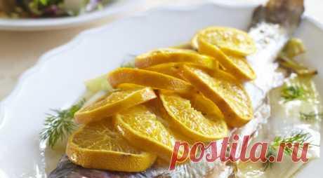 Рыба с травами, мандаринами и запеченным пореем, пошаговый рецепт с фото