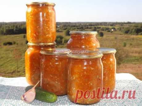 Салат «Острый» на зиму из «бракованных» огурцов с чесноком и томатным соусом