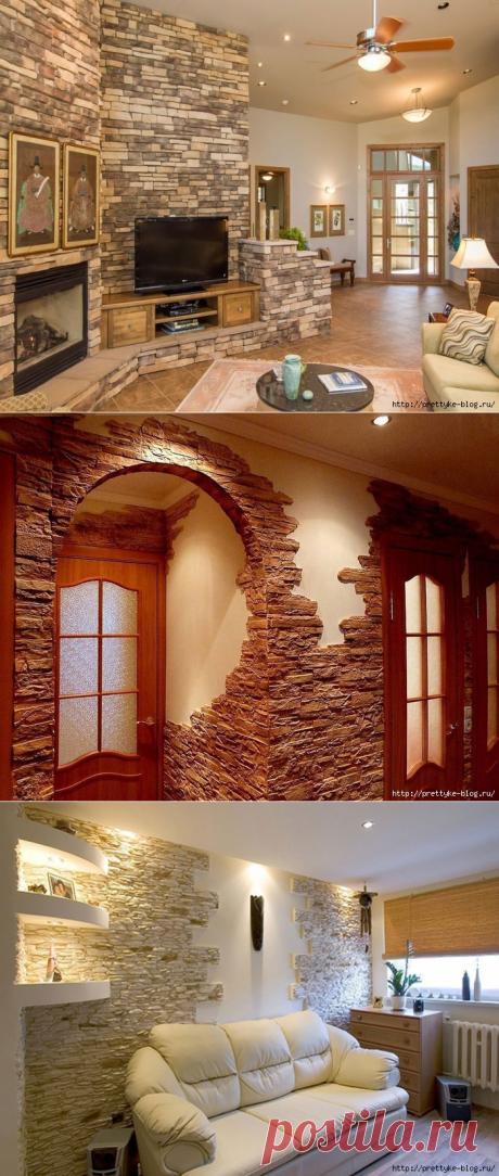 Использование декоративного камня в интерьере квартиры .