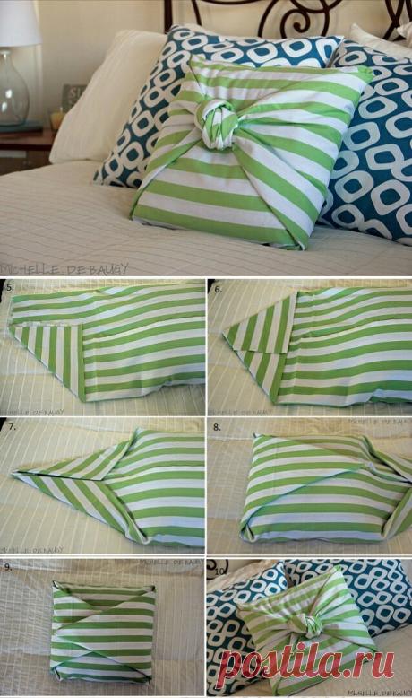 Чехол на подушку за 10 минут без шитья.