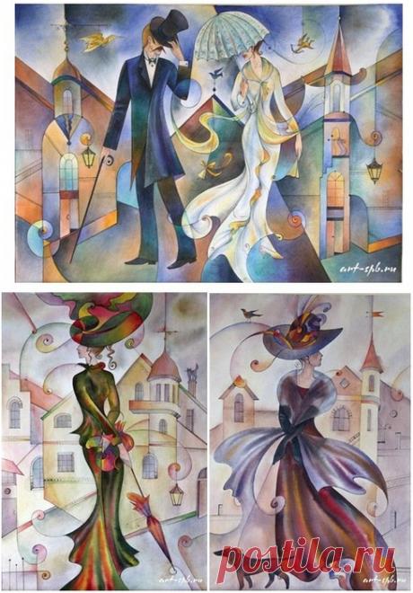 """Вышивка крестом - """"Встреча с незнакомкой"""" - Три картины в стиле модерн - схемы и палитры цветов"""