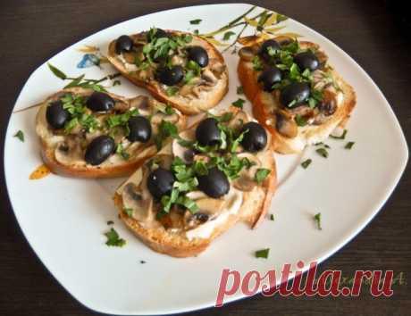 Тосты с грибами и сыром   Русская кухня