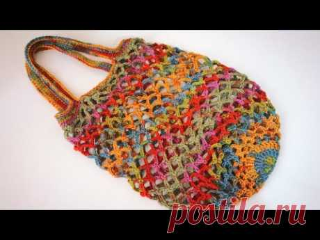 En Kolay File Alışveriş Çantası Yapımı / Crochet Market Bag Tutorial (Eng. Subt.)