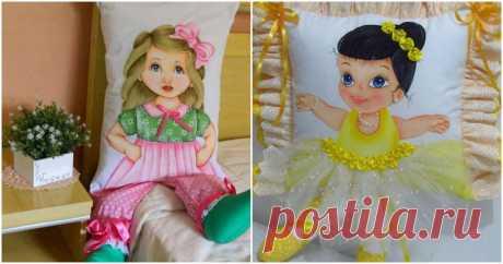 Необычное рукоделие: куклы-подушки, расписанные акриловыми красками ...