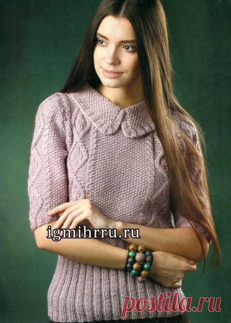 Женственно, мило, романтично! Пуловер цвета чертополоха с рельефными узорами и отложным воротником. Вязание спицами