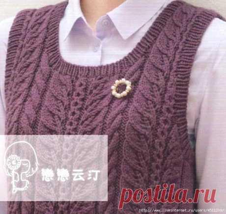 Vest. Description, schemes of knitting