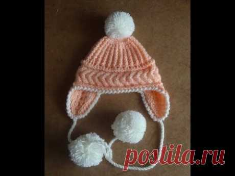 ШАПОЧКА С УШКАМИ. knitted cap with ears