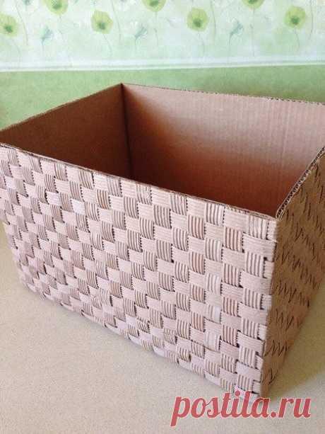 """Как сделать """"корзину"""" из коробки. Мастеркласс"""
