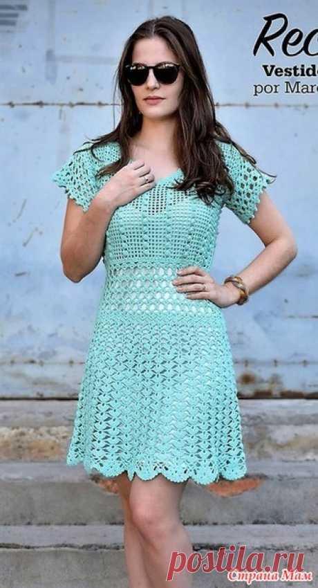 . Ажурное голубое платье Linha Passione. - Все в ажуре... (вязание крючком) - Страна Мам