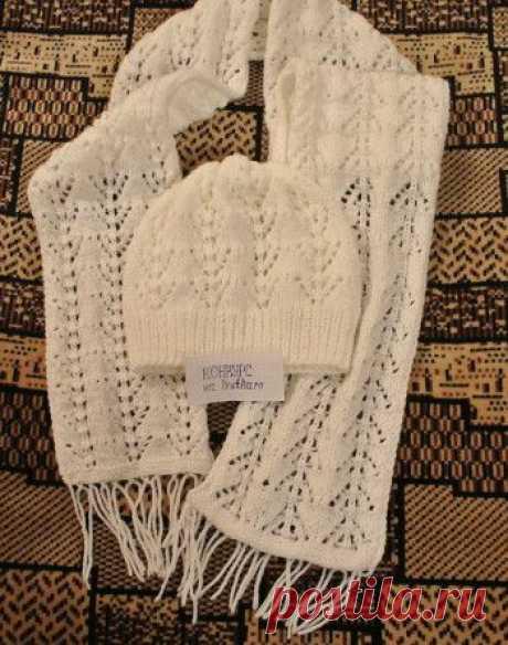 Ажурная шапочка и шарфик из рубрики Вязание для женщин. Вязание спицами модели и схемы на kNITKA.ru