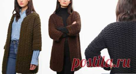 Вязаное пальто спицами | ДОМОСЕДКА