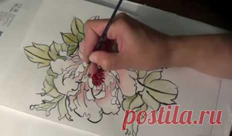 Как нарисовать пион в китайском стиле двумя кистями без китайских материалов | Онлайн-школа рисования и скетчинга | Яндекс Дзен