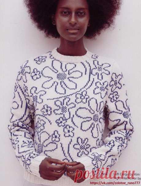 Джемпер с цветочным принтом. Схема.