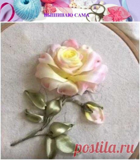 Как вышить розу лентами для начинающих, пошаговая инструкция