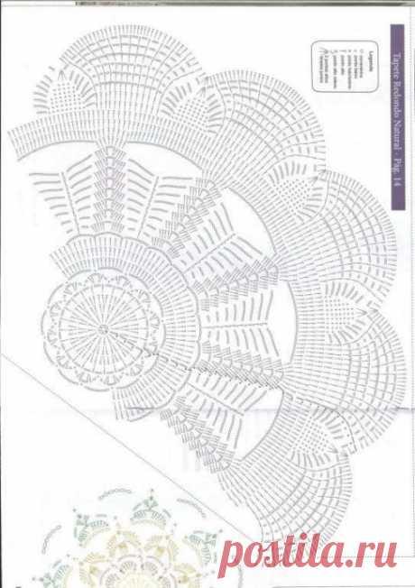 Схема вязания коврика-цветочка