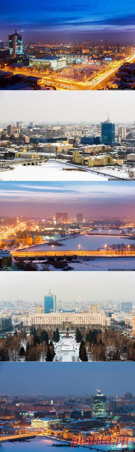 Россия: Зимний Челябинск с высоты.