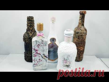 5 ideas para decorar botellas de cristal/ 5 Ideas for decorating glass bottles (english subtitles)