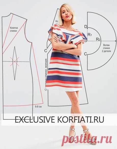 Раз полоска, два полоска! Шьем летнее расклешенное платье  https://korfiati.ru/2016/06/vyikroyka-raskleshennogo-platya/  Полоска в этом сезоне — актуальна как никогда! А такое озорное расклешенное платье, которое мы предлагаем вам сшить – просто находка для этого лета. Легкое, воздушное, яркое, выполненное из структурированной смесовой ткани, с мягкой оборкой–воланом – разве можно придумать более комфортное платье для лета?