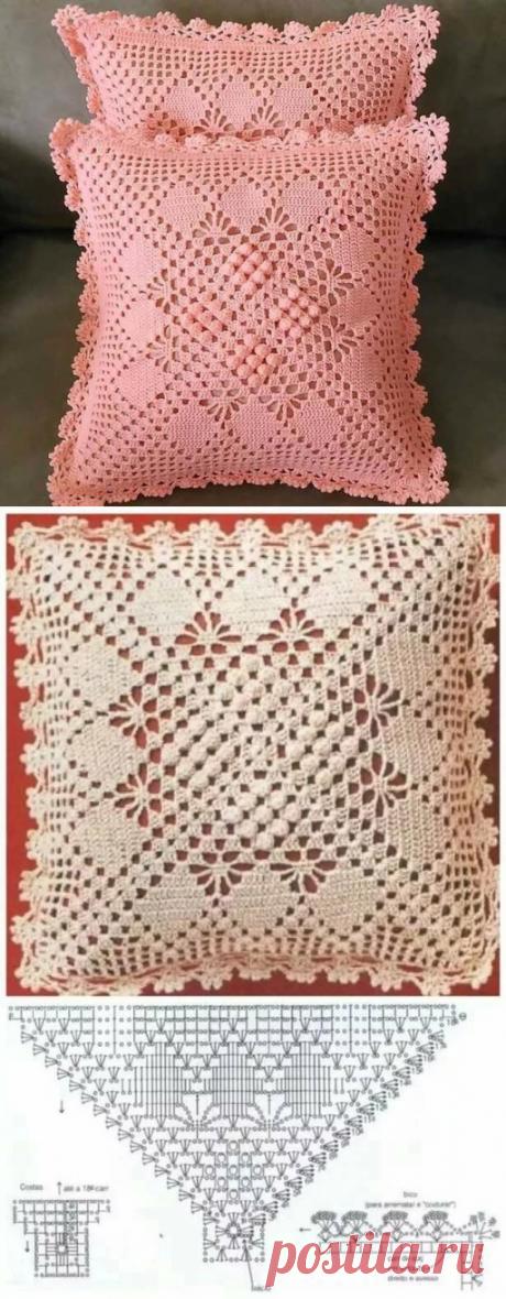 Наволочка для подушки крючком