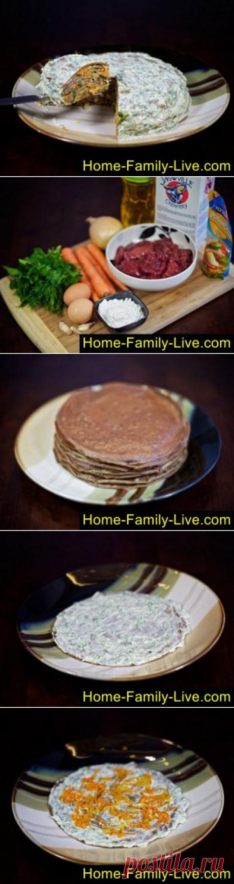 Торт из печени/Сайт с пошаговыми рецептами с фото для тех кто любит готовить