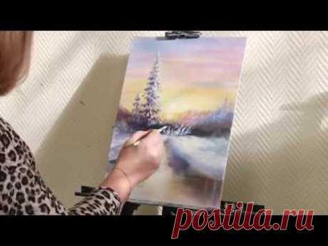"""La Clase maestra del pintor Aleksandry Yurovoy por la escritura del cuadro al óleo al tema \""""el bosque Invernal\"""""""