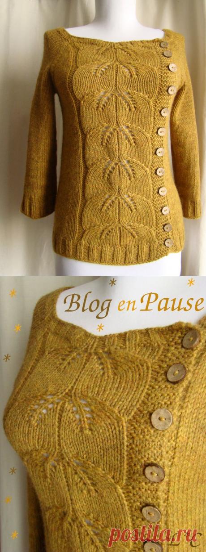 Buttony Sweater Feuilles d'Automne - Lady Colori