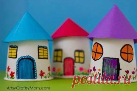 Домики из картонных стаканчиков