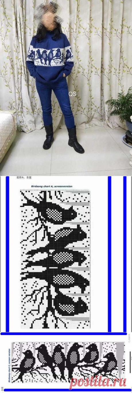 """Пуловер лопапейса с птичками (схема).   Вязание. Жаккард - """"Зимняя радуга""""   ВКонтакте"""