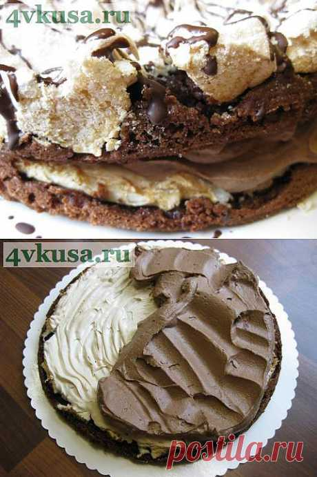 Шоколадный торт с меренгой и маскарпоновым кремом | 4vkusa.ru