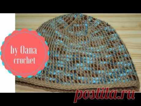 Tunisian crochet hat in the round-by Oana