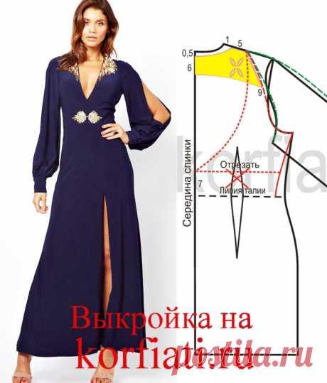 Платье с декольте - выкройка от ШКОЛЫ ШИТЬЯ Анастасии Корфиати