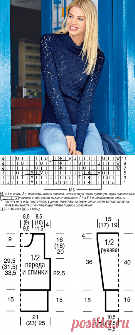 Свитер с ажурным узором и широкими планками - схема вязания спицами. Вяжем Свитеры на Verena.ru