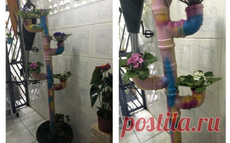 Interesting idea of creation of flowerpots from PVC of pipes.
