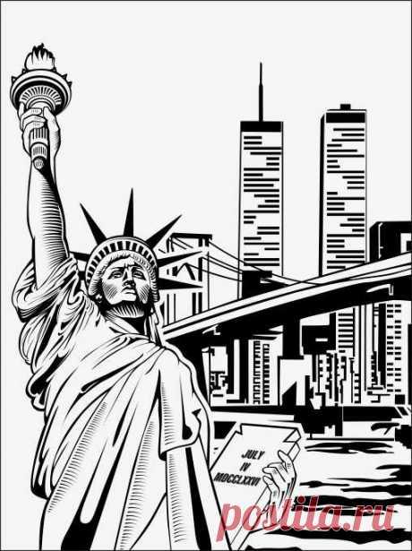 Пескоструйный рисунок статуя свободы для  плоттерной резки, дизайнерский шкаф-купе.