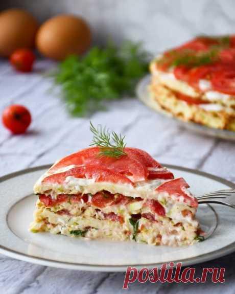 Закусочный торт из кабачков и помидоров ⠀