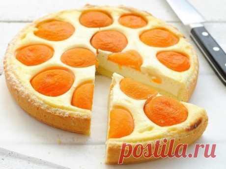 Творожный пирог с абрикосами Ингредиенты: 100-120 гр. муки 1 яйцо 50 гр. сахара 50 гр. размяг. сливочного масла крем 200 гр. творога (пастообразного) 1 яйцо 1.5 ст. л. сметаны 1.5 ст. л. сахара 1 ст. л. крахмала 1 ч. л.ванильного сахара консервированные абрикосы Приготовление: 1. Масло взбить до бела с сахаром, добавить яйцо, еще немного взбить, сверху просеять муку и быстро замесить тесто, завернуть его в пленку, убрать в холодильник на 1 час. 2. Творог прот