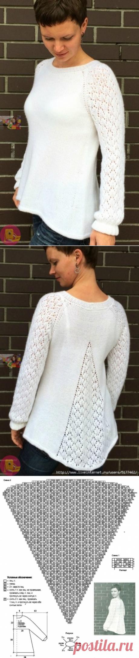 Красивый пуловер с клинообразным расширением сзади — Сделай сам, идеи для творчества - DIY Ideas
