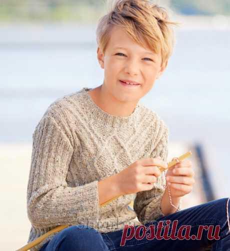Теплый пуловер с арановым узором для мальчика — Shpulya.com - схемы с описанием для вязания спицами и крючком