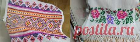 Вязаные варежки с рисунком и полотенца с вышитым краем: разные на первый взгляд вещи объединяет жаккард | Мои непослушные крестики | Яндекс Дзен