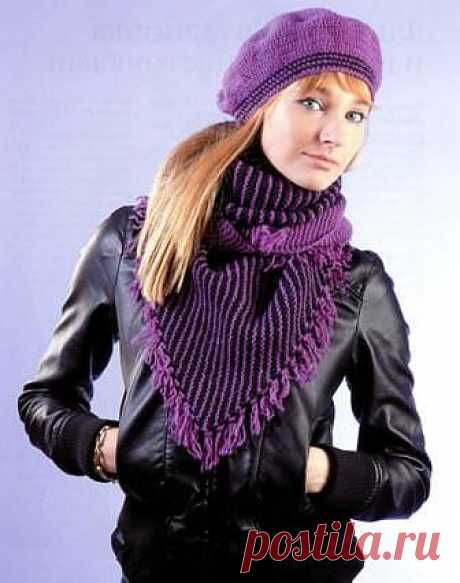 Beret and baktus with brushes | Knitting for you