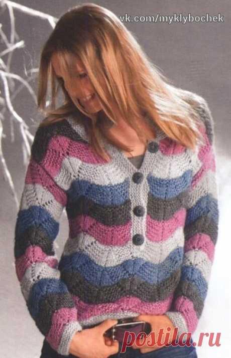 Кофточка волнистым узором спицами #вязание #спицами
