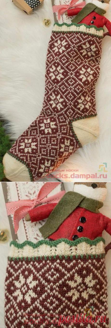 Носок для подарков «Снежинки» | ВЯЗАНЫЕ НОСКИ