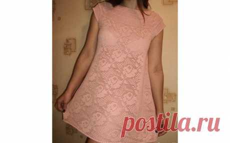 Филейное розовое платье для девушки Филейное розовое платье для девушки. Схемы вязания крючком