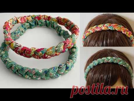DIY Beautiful Wide Elastic Chunky Braided Headband    How to Make 3 strand Plait Fabric Hairband