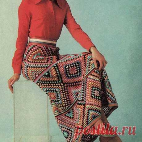 10 моделей юбок «Бабушкин квадрат» + 3 видео-МК по вязанию квадрата
