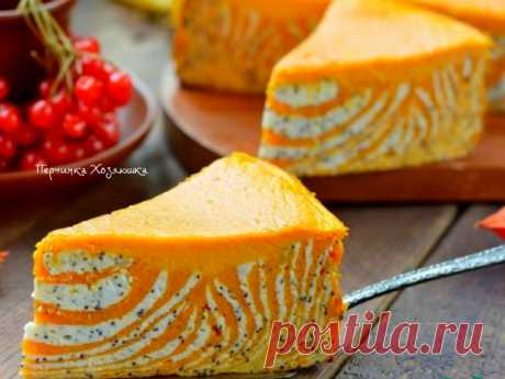 Marble cake * the Zebra * from pumpkin and cottage cheese - Perchinka the hostess
