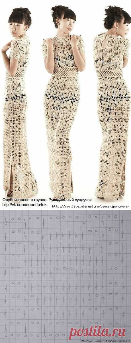 """""""Персиковое дерево"""" платье крючком от Cristina Adami."""